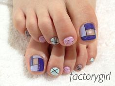 Pedicure, Toe Nail Art: pastels, blue