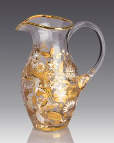 Handcrafted pitcher. Glass. Hand enameled and hand set with Swarovski crystals…