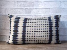 Blue ikat linen lumbar pillow -decorative throw pillow with blue ikat print -indigo dye print pillow case - shibori pillow cover by Ideccor on Etsy https://www.etsy.com/listing/152184003/blue-ikat-linen-lumbar-pillow-decorative