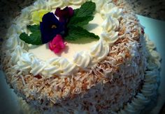 Carrot cake with toasted coconut