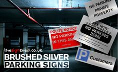 Brushed Silver Parking Signs now available. Give your Car Park a high class, professional look with our high quality brushed silver aluminium signs #ParkingSigns #Parking #NoParking #CarPark #SignShop #silversigns #TheSignShed #safetysheepblog Parking Signs, Car Parking, Sign Solutions, Aluminum Signs, Private Property, High Class, Shop Signs, Shed, Silver