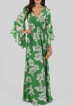 Vestido longo de seda verde com babado nas mangas Ateen - powerlook-V-MOB