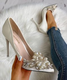Shop Faux Pearl Pointed Toe Stiletto Heels right now, get great deals at Chiquedoll Lace Up Heels, Pumps Heels, Stiletto Heels, High Heels, Bridal Shoes, Wedding Shoes, Prom Heels, Fashion Heels, Chunky Heels