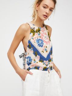 This Sweet Love Top | Floral printed tank with open sides. * Contrast printed adjustable side ties. * Cropped to the natural waist.