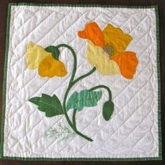 Free Applique Quilt Block Patterns   Vintage Quilt Block Applique Poppy Finished Yellow by KerryCan by bessie