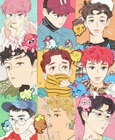 Shared by Killer Doll. Find images and videos about kpop, exo and baekhyun on We Heart It - the app to get lost in what you love. Kpop Exo, Exo Lucky One, Exo Fanart, Kpop Anime, Exo Couple, Fan Art, K Pop, Chanyeol, Exo Kai