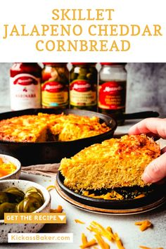 Jalapeño Cheddar Cornbread is super delicious and satisfying for game day or any day! It comes together quickly, makes for easy snacking or as a side dish to your chili. Baker Recipes, Side Dish Recipes, Easy Snacks, Easy Meals, Jalapeno Cheddar Cornbread, Best Bread Recipe, Baking Flour, Homemade Desserts, Savoury Dishes