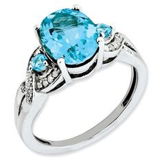 925 Sterling Silver Twisted Pattern 3-Stone Blue Topaz and Diamond Ring