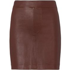 cb42dc317 Helmut Lang Women's Mahogany Stretch Leather Skirt (€600) ❤ liked on  Polyvore featuring skirts, mini skirts, short skirts, short brown skirt, brown  leather ...