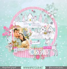 Snow Globe layout made with Hip Kit Club November 2016 Kits featuring @crate_paper Snow & Cococa and @pinkfreshstudio Oh Joy collections. | Flora Monika Farkas #hipkitclub #cratepaper #pinkfreshstudio