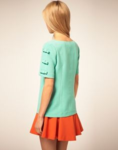 ASOS Shell Top With Bow Sleeve