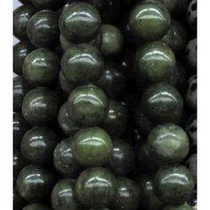 dark green taiwan jade bead, round approx dia, per st Jade Beads, Taiwan, Fruit, Dark, Green