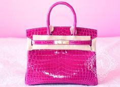 Hermes Rose Scheherazade Hot Pink GHW Crocodile Birkin 30 Handbag - New