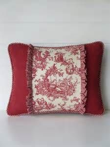 French Country Pillow Cover, Country French Red and White Toile ...