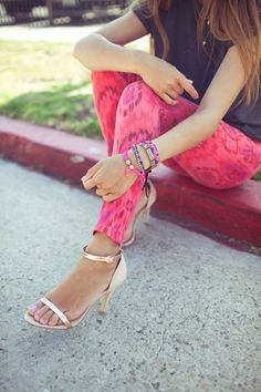 neon patterned pants