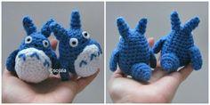 Blue Totoro By Sharon Ojala - Free Crochet Pattern - Blue Tortoro Rides The Cat Bus - See Link To Cat Bus - http://www.amigurumitogo.com/2012/12/cat-bus.html - (amigurumitogo)