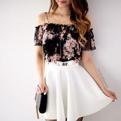 Cute floral shirt and white skirt
