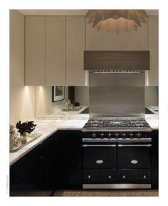 Modern black and white kitchen; marble counter top; Orlando Diaz-Azcuy
