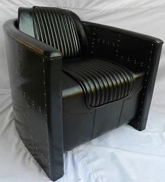 Aviator Club Sofa Bar Living Chair Vintage Black Metal and Leather