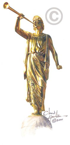 Angel Moroni Statue Painting