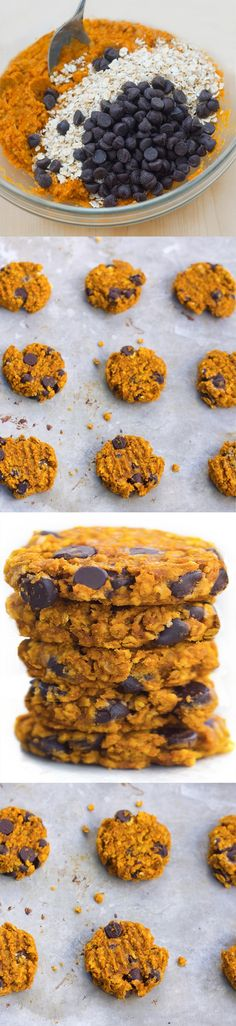 Soft and CHEWY pumpkin chocolate chip cookies… packed with oats and cinnamon and chocolate chips… from @choccoveredkt… so good! http://chocolatecoveredkatie.com/2015/11/02/oatmeal-pumpkin-chocolate-chip-cookies/