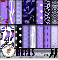 HEELS Purples set 6 digital papers for by IrrationalArts on Etsy, $3.95