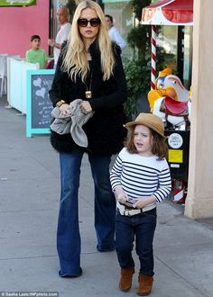 Out and about: Rachel Zoe was spotted on an outing with her three-year-old son Skyler in W...