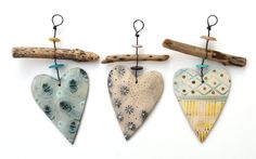 Shirley Vauvelle Driftwood Heart Hangers - CoastalHome.co.uk: Ideas For Christmas Clay Crafts, Diy And Crafts, Arts And Crafts, Ceramic Jewelry, Ceramic Clay, Nautical Gifts, Hand Built Pottery, Wooden Bird, Clay Ornaments