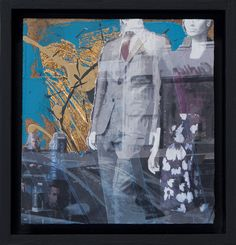 """Thoughtscapes - 4""""x4"""" mixed media on panel  Artwork: figurative painting"""