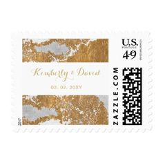 Marble and Gold Wedding postage - simple clear clean design style unique diy