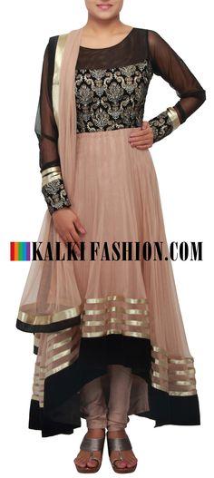 Get this beautiful salwar kameez here: http://www.kalkifashion.com/brown-anarkali-suit-embellished-in-zari-only-on-kalki.html Free shipping worldwide.