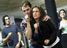 Joe Walker & Lauren Lopez rehearsing for Apocalyptour 2012! HAHA Lauren's face