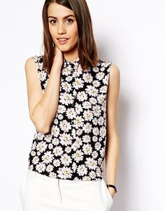 ASOS Sleeveless Boxy Blouse in Floral Print