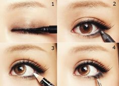 eyeliner; simple enough for school mornings! smudge brown shadow on top, line top with black liquid liner, then smudge brown pencil in the bottom lashes and finish with white on the waterline and mascara
