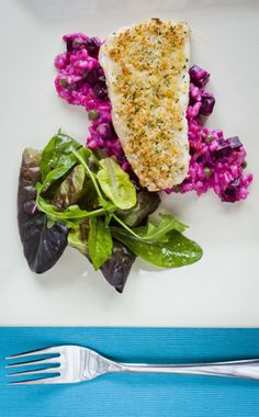 Gremolata Crusted Halibut on Beetroot Risotto - Stunning colours are what will grab your attention here, but it's the great taste you'll remember most - http://www.fishisthedish.co.uk/recipes/main-meals/1439-gremolata-crusted-halibut-on-beetroot-risotto