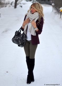 winter outfits scarf Adorable winter outfit gray b - winteroutfits Fashion Moda, Look Fashion, Womens Fashion, Fashion Trends, Fashion Boots, Fashion News, Fall Fashion, Country Fashion, Fashion Outfits