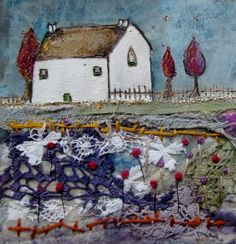 'A cottage garden in spring'  by Louise O'Hara of DrawntoStitch www.drawntostitch.com