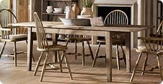 A farmhouse style table with mix match chairs for the dining room Barn Table, Rustic Table, Kitchen Table Chairs, Dining Room Chairs, White Dining Set, Dining Sets, Knock Off Decor, Farmhouse Style Table, Extension Dining Table
