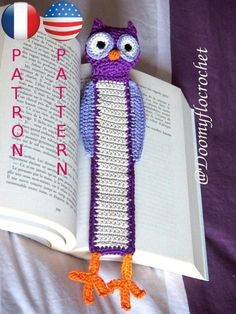 Crocheted coton owl Bookmark Tutorial pattern in english and