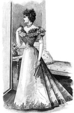 Evening dress fashion plate, 1897.