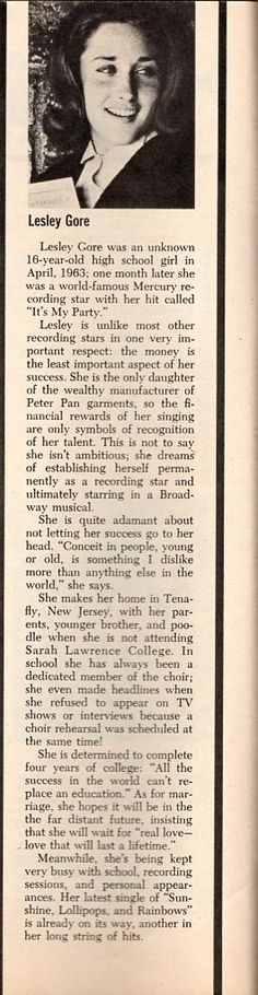Lesley Gore - TeenSet - November 1965 - Music Maker: Profiles - p6 Lesley Gore, High School Girls, World Famous, 16 Year Old, Vintage Magazines, I Party, Rainbows, Lesbian, Pride