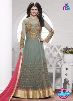3ce2610dbd Vinay Fashion 3937 Grey and Golden Georgette Designer, Gawn Salwar Suits  Party Wear, Anarkali