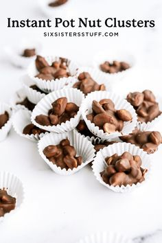 A delicious and simple homemade chocolate peanut clusters recipe. These Instant Pot Nut Clusters are an easy pressure cooker dessert recipe to make for the holiday season! Chocolate Clusters, Chocolate Almond Bark, Homemade Chocolate, Chocolate Desserts, Fun Desserts, Delicious Desserts, Dessert Recipes, Peanut Clusters, Nut Cluster Recipe