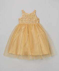 Gold Rosette Tulle Dress - Toddler & Girls #zulily #zulilyfinds