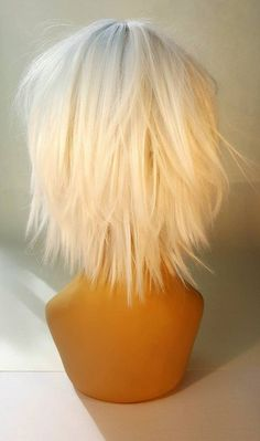 Short Platinum Blonde Wig, Short White Wig with Shaggy Textured Layers, Short Platinum Wig with Textured Layers - carmen Silver Blonde Hair Dye, Platinum Silver Hair Color, Blonde Ombre Short Hair, Platinum Wigs, Short Brown Hair, Blonde Wig, Long Curly Hair, Platinum Blonde, Short Hair Cuts