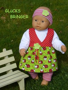 """Puppenkleidung - """"Glücksbringer"""" 4tlg Set Gr.35-40cm - ein Designerstück von handgeschick bei DaWanda"""