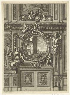 Jean Lepautre   Onderboezem met rond schilderij, Jean Lepautre, c. 1660 - c. 1666   De onderboezem is afgesloten door panelen met maskers en staat tegen een muur met houten lambrisering. Uit serie van 6 bladen.