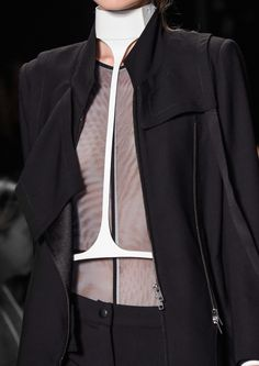 Black suit with sleek white harness; fashion details // Ann Demeulemeester Spring 2016