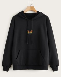 To find out about the Butterfly Embroidered Kangaroo Pocket Drawstring Hoodie at SHEIN, part of our latest Sweatshirts ready to shop online today! Stylish Hoodies, Unique Hoodies, Comfy Hoodies, Hoodie Sweatshirts, Hoody, Sweat Shirt, Vetement Fashion, Cute Casual Outfits, Tomboy Outfits