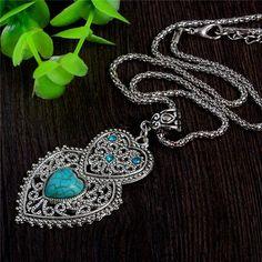 Pretty Turquoise Stone Bohemian Style Charming Heart Pendant